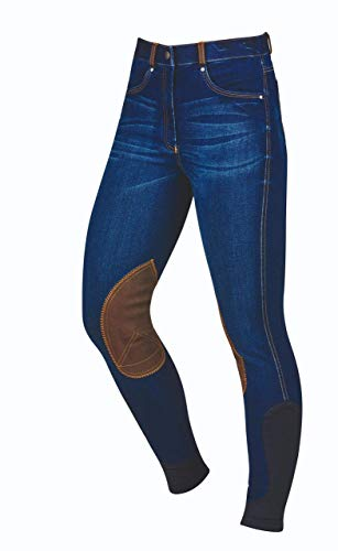 "Dublin Ladies Shona Knee Patch Denim Breeches Blue Denim/Navy 18/36"""