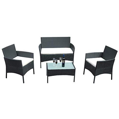 Patio extérieur en rotin Chaises Set de Table - rectangulaire Noire Canapé de Jardin Ensembles - avec Verre trempé Table et Coussin WKY