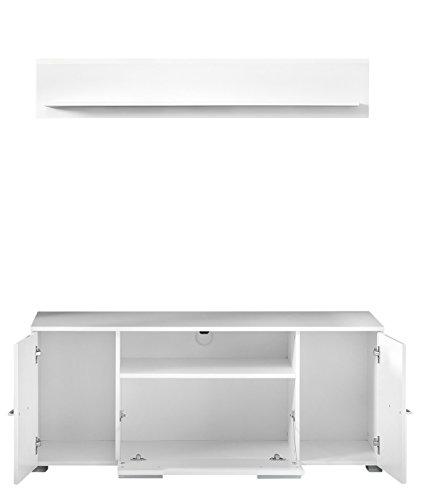 trendteam VIS85201 TV Möbel Lowboard Weiß Hochglanz + Wandboard Weiß Matt, Lowboard BxHxT 131x52x45 cm, Wandboard BxHxT 130 x 22 x 18 cm - 2