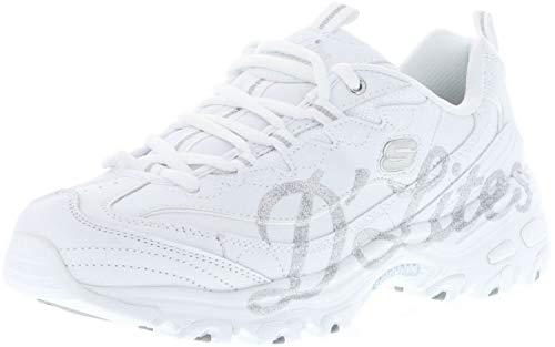 Skechers 13165/WSL D'Lites-Glitzy City Damen Sneaker weiß/Silber/Glitzer, Größe:37, Farbe:Weiß