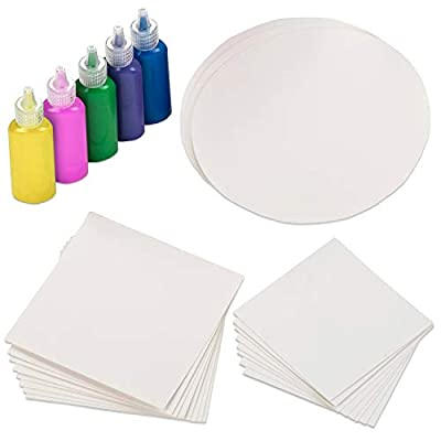 Creative Kids Spin & Paint Refill Pack - 8 x Large Cards - 8 x Small Cards - 4 x Round Cards - 5 Bottles of Colored Paint