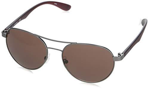 Calvin Klein Gafas de sol redondas para mujer Ck19313s, plomizo mate/borgoña/borgoña, 55 mm