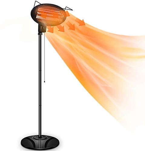 Patio Heater-1500W Outdoor Electric Heater, 3 Adjustable Power Level Outdoor Infrared Heater with Tip Over & Overheat Protection, Freestanding,Weatherproof for Patio,Courtyard,Garage Use
