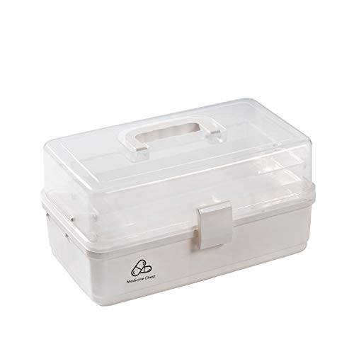 YaoJP 3-laags huisapotheekbox met hoge capaciteit transparant deksel medicijnbox multifunctioneel draagbaar opbergkist voor geneeskunde cosmetica schrijfwaren gereedschappen