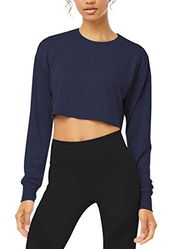 Bestisun Long Sleeve Crop Tops Workout Shirts with Thumb Hole for Women Navy Blue S