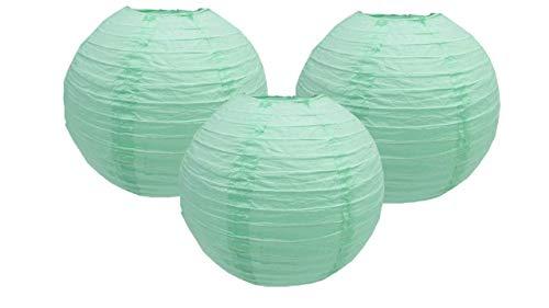 Lot de 3 lanternes en papier pour fête d'anniversaire, fête prénatale, mariage, célébration de 10 cm à 40 cm (vert menthe, 35 cm)