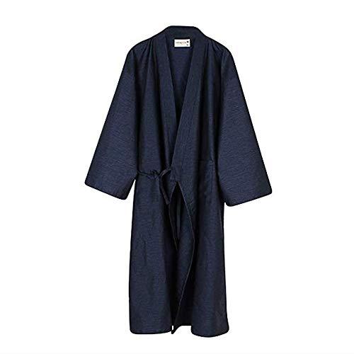 Albornoz de algodón Kimono para mujer, para hombre, albornoz, pijamas yukata, camisón, holgada, cómoda, para baño, spa, natación, para el hogar, casual, con cinturón de bolsillo Azul azul marino L