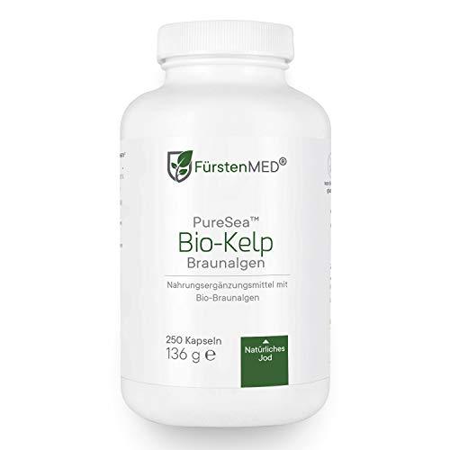 FürstenMED® Bio Kelp - Natürliches Jod aus Bio Braunalgen - 250 Vegane Hochdosierte Kapseln aus Deutschland - Laborgeprüft & Ohne Zusatzstoffe