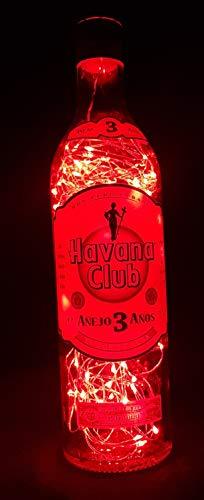 Havana Club - Flaschenlampe mit 80 LEDs Rot Upcycling Geschenk Idee