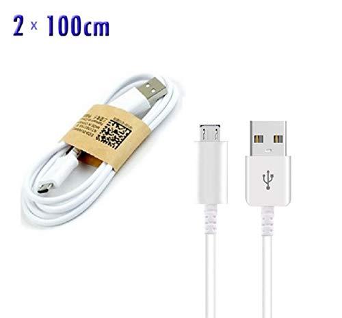 2x 100 cm Micro-USB Kabel für Samsung Galaxy S7 S7 edge S6 edge plus S6 S5 S4 S3 S3mini S4mini S5mini A6 A6+ A7 A5 2015 A5 2016 A3 2015 A3 2016 J6 J6+ J7 J5 J4 J4+ J3 J2 J1 Note 5 4 3 2 1