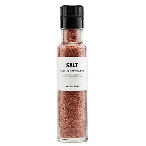 Nicolas Vahe - Salz mit Parmesan, Tomaten und Basilikum - 300 Gramm - Glasflasche mit integrierter Mühle