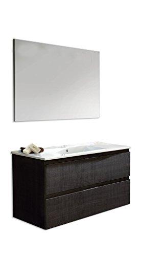 Platos de ducha y mamparas Conjunto Naima_PdM_ Mueble + encimera cerámica + Espejo Liso (Roble Sinatra, 120cm)
