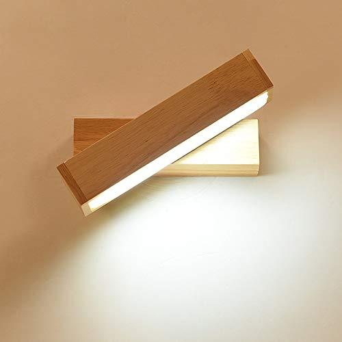 DC Wesley Lámpara de pared LED de madera maciza con interruptor de botón giratorio para dormitorio, mesita de noche, sala de estar, fondo de iluminación creativa