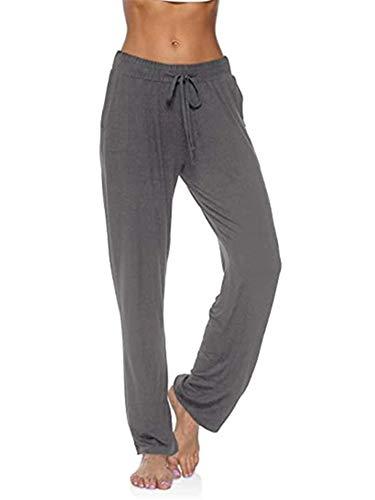 LAYAN-B Pantalones deportivos para mujer, para yoga, deportivos, deportivos, deportivos, con bolsillos, para pilates, entrenamiento, gimnasio, correr, (gris, XXL)