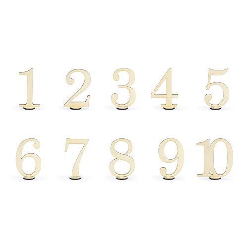 P&D - 10 pezzi, numeri in legno, decorazioni per la tavola, con numeri da 1 a 10, per matrimoni, 10 cm di altezza