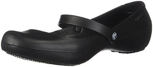 Crocs Women's Alice Flats | Slip Resistant Work Shoes Mary Jane, Black, 6