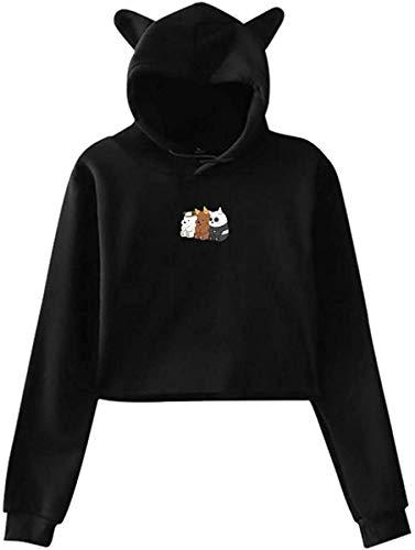 sdfasdfafd Damen Kapuzenpullover Langarm Oberteile Bluse, Woman We Bare Bears Navel Exposure with Hood Cat Ear Long Sleeves Fashion Sweater Black
