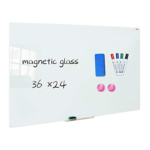 XIWODE Magnetic Glass Dry Erase Board, Wall Mounted Tempered Frameless Glass Whiteboard, 36 x 24 Inches, White Frosted Surface