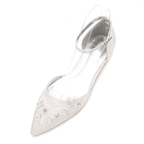 Moojm bruiloftsschoenen met vouwen, diamant, gesloten punt, platte schoenen