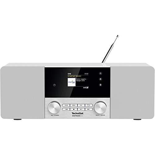 TechniSat Digitradio 4 C - Stereo Digital-Radio (DAB+, UKW, Farbdisplay, Bluetooth, Kopfhöreranschluss, AUX-Eingang, Radiowecker, OLED Display, 20 Watt RMS, Elac Lautsprecher) weiß