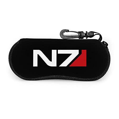 Funda para gafas de sol resistente al polvo de neopreno MASS EffEct Logo N7 funda de gafas personalizada con mosquetón