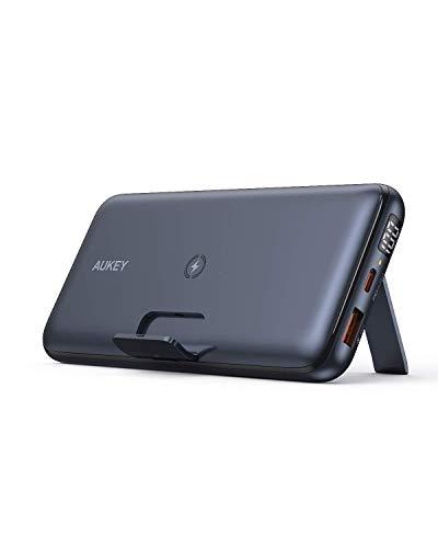 AUKEY Batería Externa USB C, Cargador portátil inalámbrico de 20000 mAh con Soporte Plegable, Suministro de energía de 18 W y Carga rápida 3.0 para iPhone 12/12 Pro.
