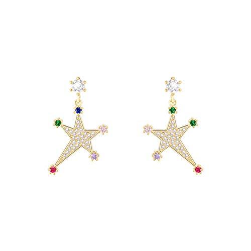 LDH Serie de Estrellas Pendientes de Oro Pendientes de Temperamento Pendientes Pendientes Sintético Cubic Zirconia Stud Pendientes Hipoalergénicos 3 * 1.5 Cm