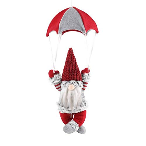 Pstarts Christmas Gnomes Decorations, Parachute Santa Claus Snowman Doll Gift, Xmas Tree Hanging Ornament Pendant, Festival Indoor Outdoor Party Decor