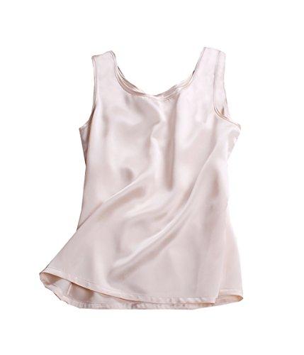 LSHARON SILK 100% 19 Momme Maulbeerseide Damen Bluse Tank Top Gr. M, champagnerfarben