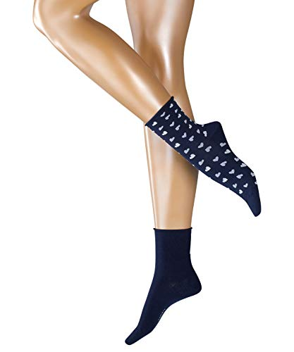 ESPRIT Damen Socken Hearts 2-Pack, Baumwollmischung, 2 Paar, Blau (Marine 6120), Größe: 36-41