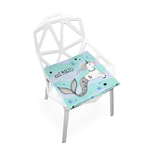 Linomo - Cojín de asiento para silla con diseño de unicornio y sirena, de espuma viscoelástica para niños, 40,6 x 40,6 cm