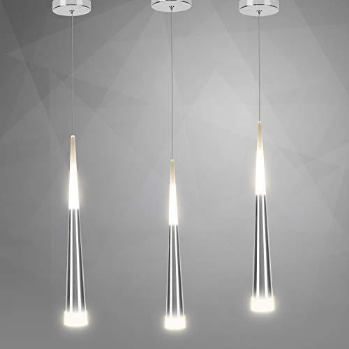3er LED Pendelleuchte höhenverstellbar 4000K Warmweiß Modernes Design hängelampe zylinder Leitungslänge 1,5 Meter Silberweiß