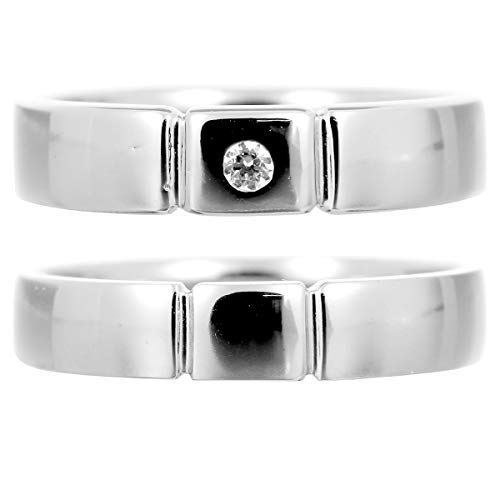[ココカル]cococaru ペアリング 2本セット K10 ホワイトゴールド 結婚指輪 ダイヤモンド 日本製(レディースサイズ8号 メンズサイズ2号)