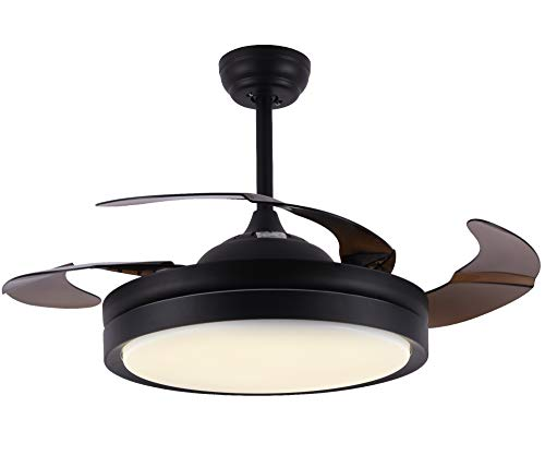 Bella Depot Black Small Ceiling Fan with Lights LED Remote Control - 42' Foldable Ceiling fan for Indoor Living Room Dinner Room Bedroom, 2 Down-rods Included