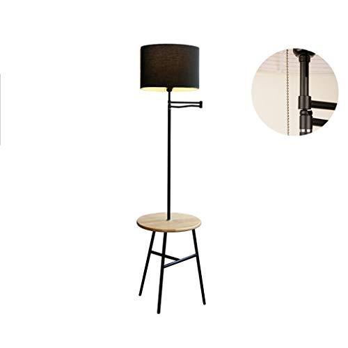 QTDH staande lamp voor het lezen, led-vloerlamp met plank, Amerikaanse vloerlamp E27 voor kantoor, slaapkamer, woonkamer