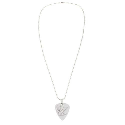Fashion Stainless Steel Guitar Plectrum Pick Necklace for Guitar Bass Ukulele Banjo Parts Gift - Silver, B