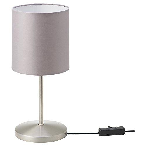 Tischlampe INGARED gebürsteter Stahl mit Textilschirm (grau)