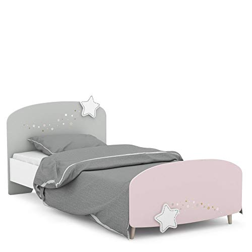 Jugendmöbel24.de Kinderbett Sternschnuppe Sternchen mit silbern umrandeten Sternen mit 3D-Effekt 90 * 200 cm rosa weiß grau Mädchen Prinzessin MDF Holz Zimmer