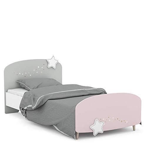Kinderbett Sternschnuppe 90 * 200 cm rosa weiß grau Mädchen Prinzessin Kinderzimmer Holz Liege Einzel Gestell...