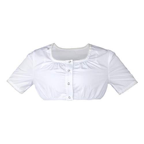 HBBMAGIC Dirndlbluse Damen Weiß Dirndl Bluse Kurzarm Baumwolle Trachtenbluse Größe 32-42