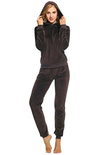 UNibelle Donna Tute Felpa con Cappuccio Tuta Training Sportivo Due Pezzi Felpa +Pantaloni Casual Tuta Invernale Autunno Caffe