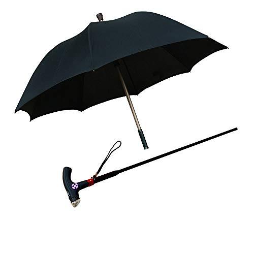 WRMING Dos en uno Bastón Paraguas Resistente al Viento Inteligencia Multifuncional Separable Borde Reflectante Paraguas de Bastón Muletas al Aire Libre Regalo