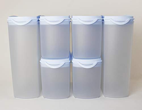 TW Tupperware Eidgenosse Plus - Fiambrera (2 x 2,2 L, 4 x 1 L, 10 L), color azul claro