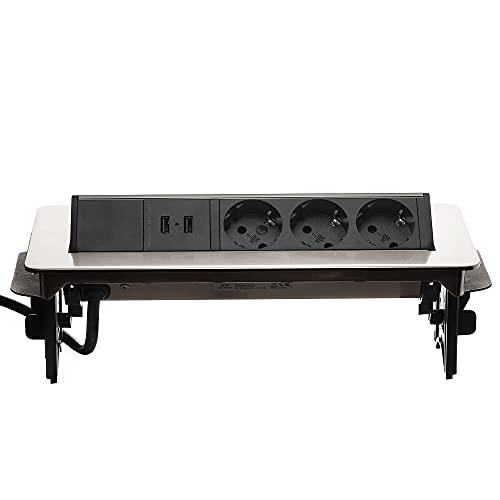 Regleta de 3 enchufes y 2 puertos USB plateados para oficina o cocina, enchufe empotrable retráctil de 2 m de cable múltiple, enchufe empotrable como enchufe de mesa, regleta