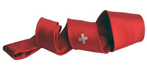 Stropdas rode vlag Zwitserland Swiss Suisse Svizra Helvetica vlag, edel geweven in gelimiteerde oplage. Design P20010-A7 Pietro Baldini