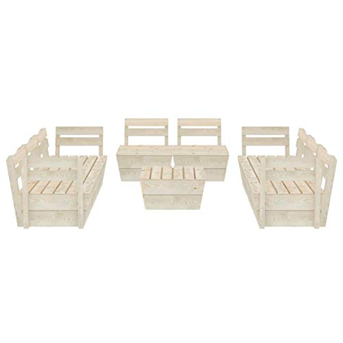 Tidyard Muebles de palets para jardín Sofá de palés para jardín 13# 9 pzas Madera de Abeto impregnada