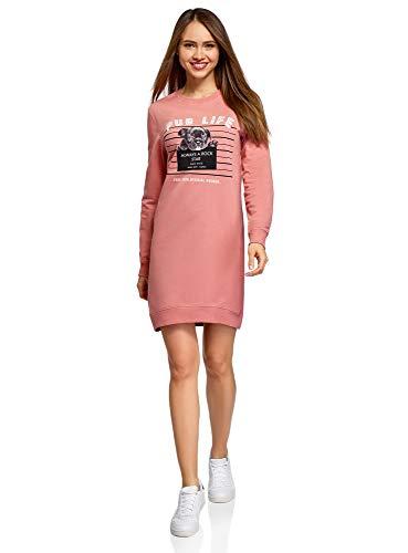 oodji Ultra Mujer Vestido Estampado de Estilo Deportivo, Rosa, ES 36 / XS