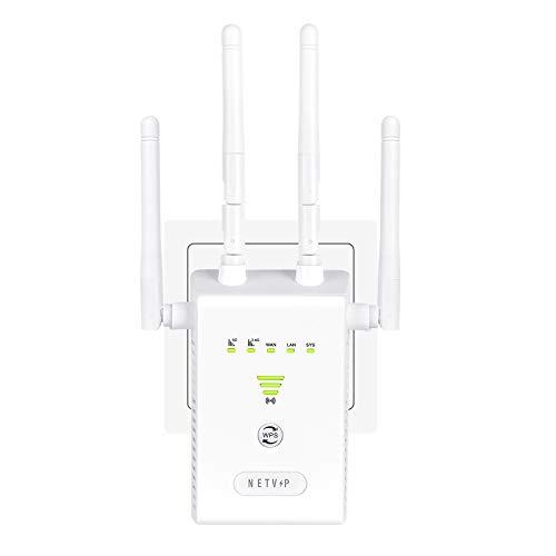 NETVIP AC1200 WLAN Verstärker Extender Dual Band WLAN Repeater Erweitern Sie den Netz Reichweite, WLAN Verstaerker (5G/ 867Mbps, 2.4G/ 300Mbps) mit Gigabit LAN-Port, Kompatibel zu Allen WLAN Geräten