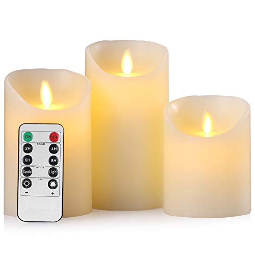 Aku Tonpa Flameless Candles Battery Operated Pillar Real Wax Flickering Moving Wick Electric LED Candle Set with Remote Control Cycling 24 Hours Timer, Pack of 3 (D:3.25' X H:4' 5' 6')