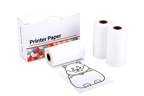 Compatible with Phomemo Printer Paper Self-Adhesive Thermal Paper, Printable Sticker Paper for M02 M02 Pro M02S Pocket Printer, Black on White, 1.97 Inch x 11.48 Feet (50mm x 3.5m) 3-Roll